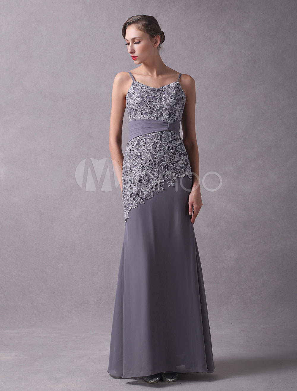 Buy Wedding Guest Dresses Grey Two Piece Mother Of The Bride Dress Lace Chiffon Straps Floor Length Wedding Party Dress With Jacket for $131.74 in Milanoo store