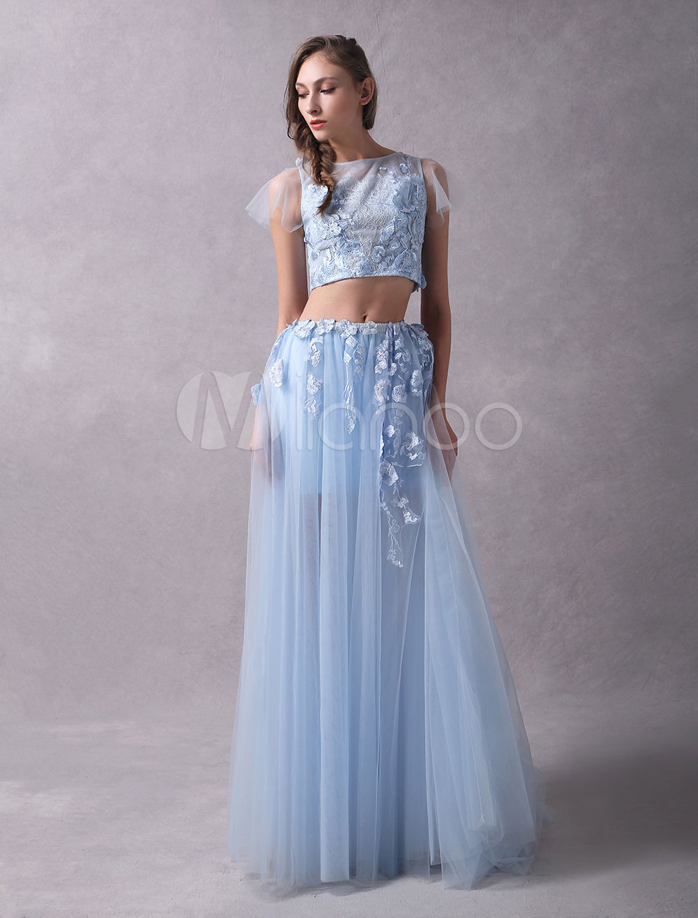 29c1cdcac6046 ... Prom Dresses Two Piece Lace Flowers Applique Short Sleeve Tulle Baby  Blue Party Dresses-No. 12. 45%OFF. Color:Baby blue