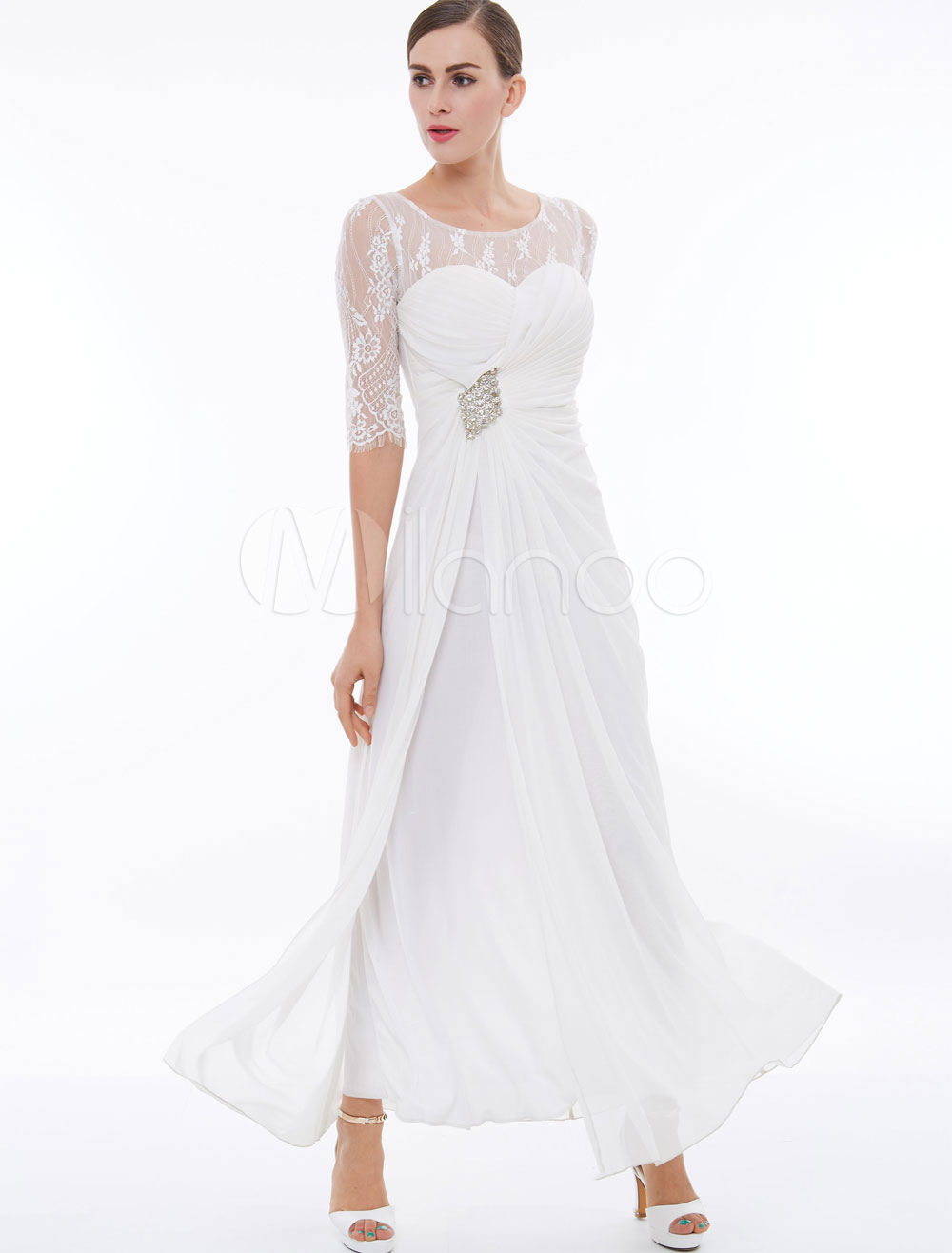 Wedding Guest Dresses White Chiffon Mother Of The Bride Dress Half Sleeve Rhinestones Beaded Side Draped Wedding Party Dress