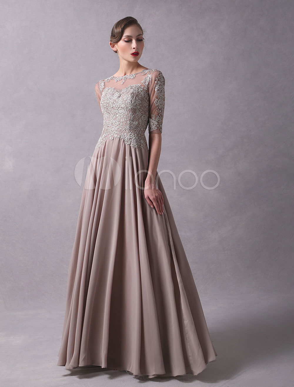 Wedding Guest Dresses Lace Applique Chiffon Mother Of The Bride Dress Half Sleeve Illusion Floor Length Wedding Party Dresses