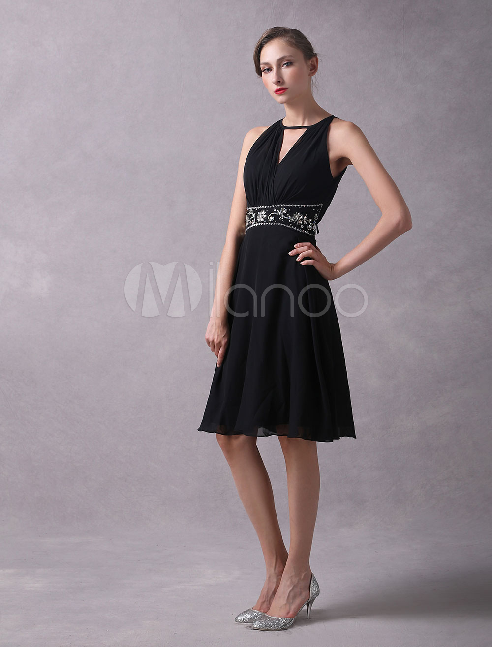 Little Black Dresses Chiffon Short Cocktail Dress Halter Ribbon Beaded Knee Length Wedding Guest Dress