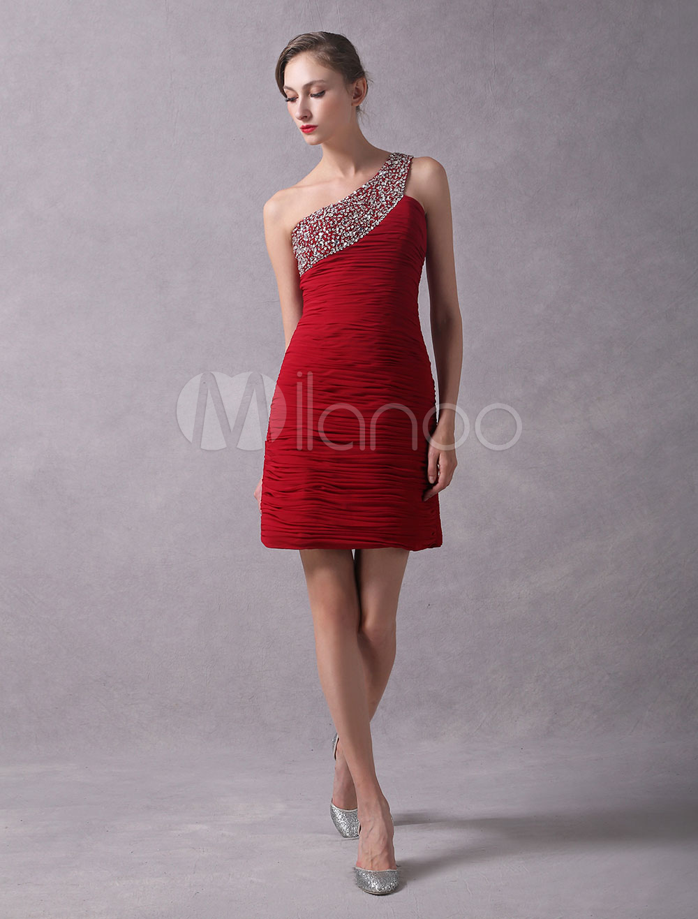 Red Cocktail Dresses Sheath Ruched Graduation Dress One Shoulder Beaded Column Mini Party Dresses