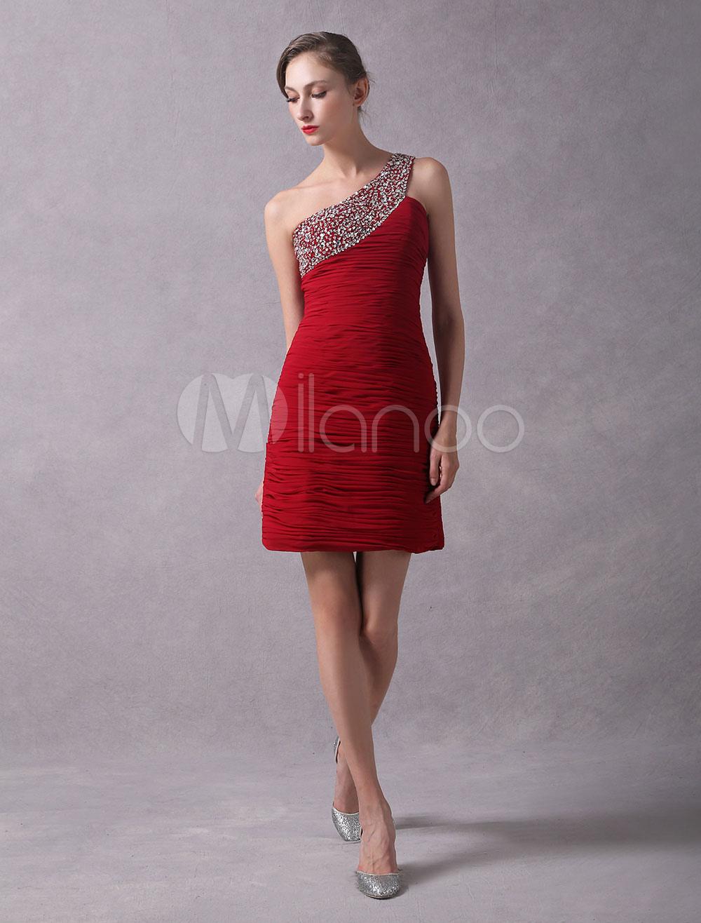 Solo Cóctel Rojo Elegante Chifón Un Escote A De Vestido Con SpGqUMzV