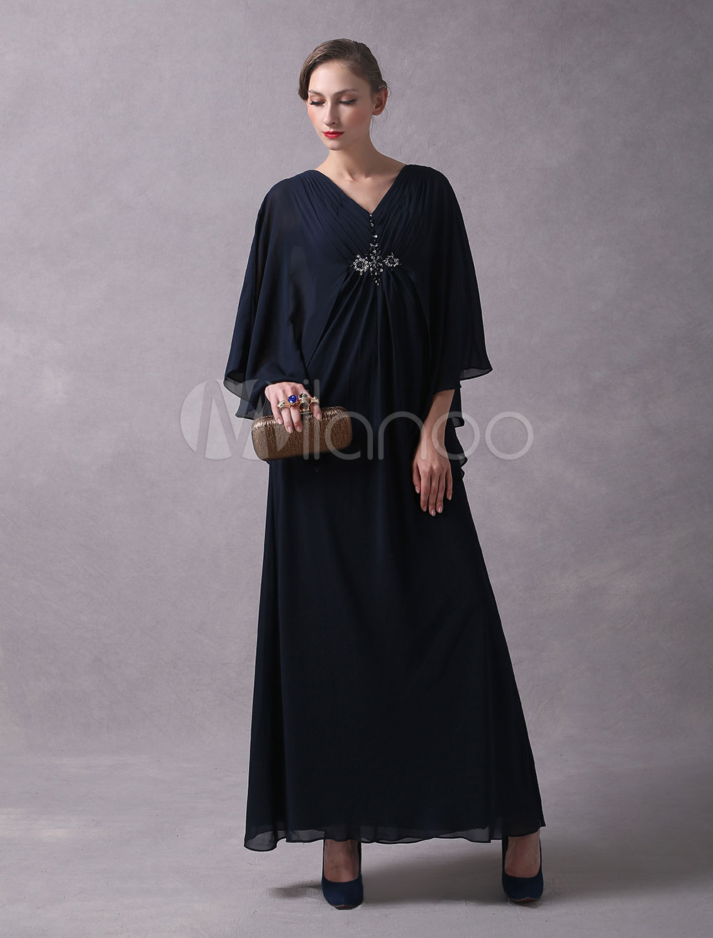 242335027b7 ... Wedding Guest Dress Dark Navy Arabic Mother Of The Bride Dresses Long V  Neck Chiffon Beaded. 12. 45%OFF. Color Dark Navy