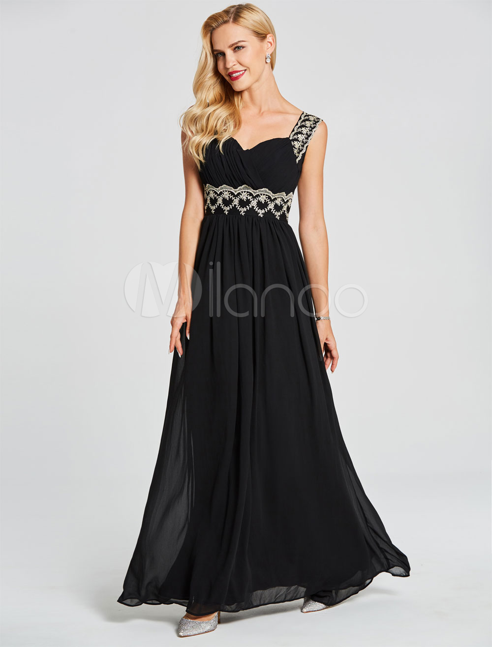 Black Prom Dresses Long Chiffon Lace Keyhole Pleated Illusion Floor Length Party Dresses