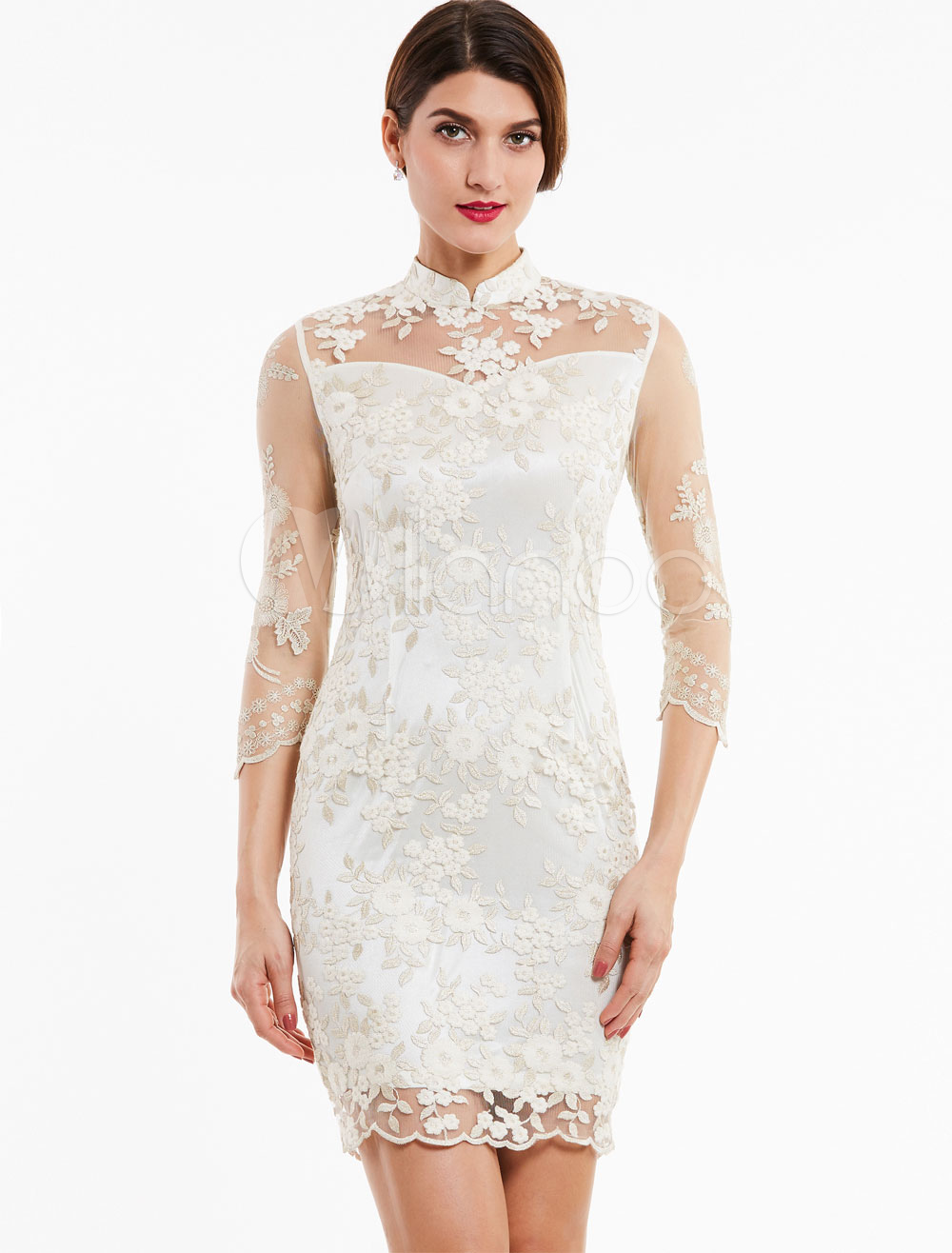 Buy Wedding Guest Dresses Lace Ivory Short Mother Dress Long Sleeve Stand Collar Illusion Sheath Column Cocktail Dresses for $74.79 in Milanoo store