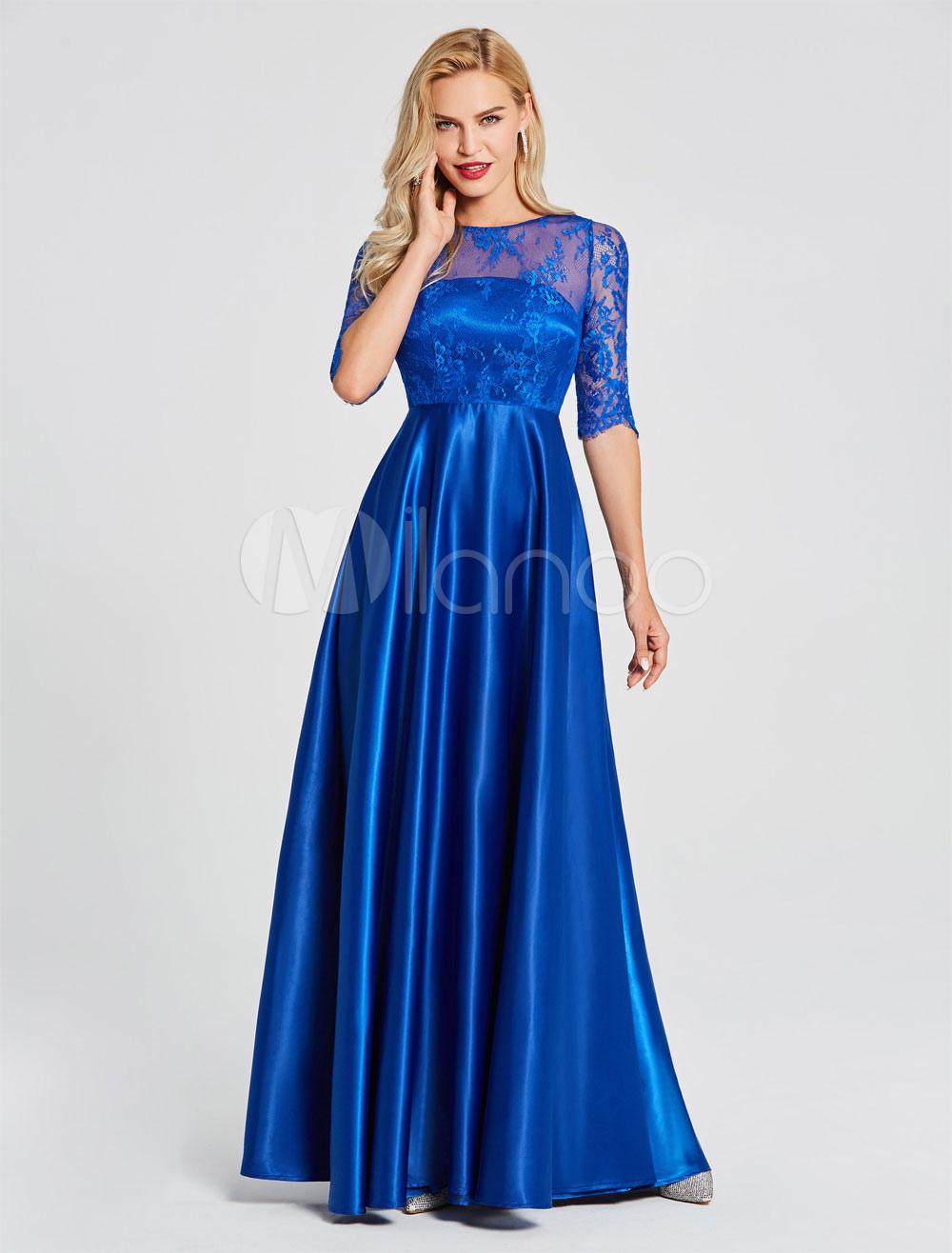 Evening Dresses Royal Blue Half Sleeve Lace Illusion V Back Elastic Satin Floor Length Formal Gowns