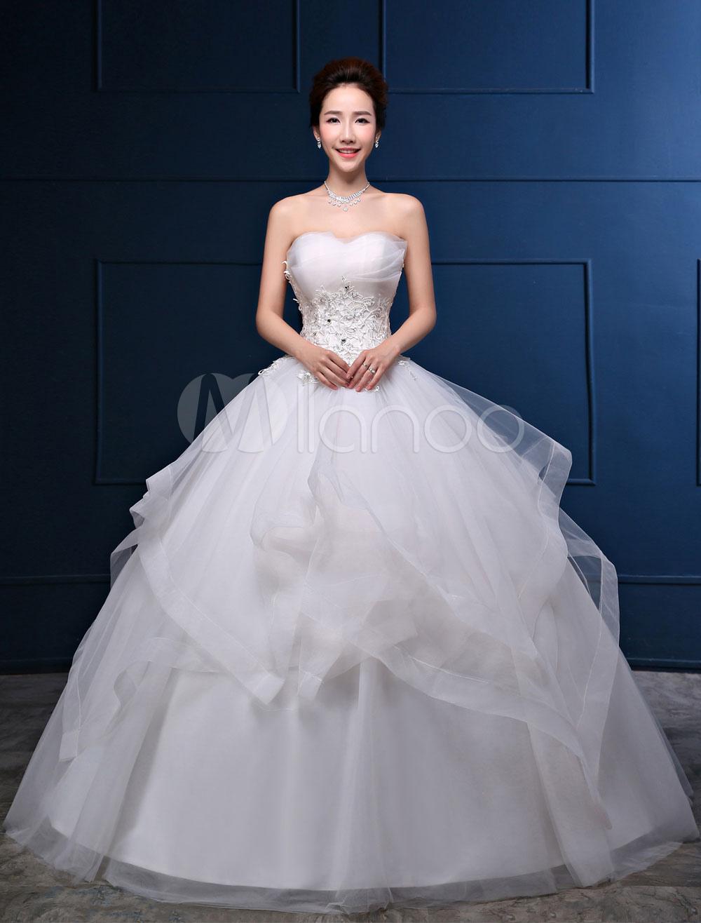 Strapless Wedding Dress Ivory Princess Ball Gowns Lace Applique Rhinestones Beaded Ruffles Floor Length Bridal Dresses