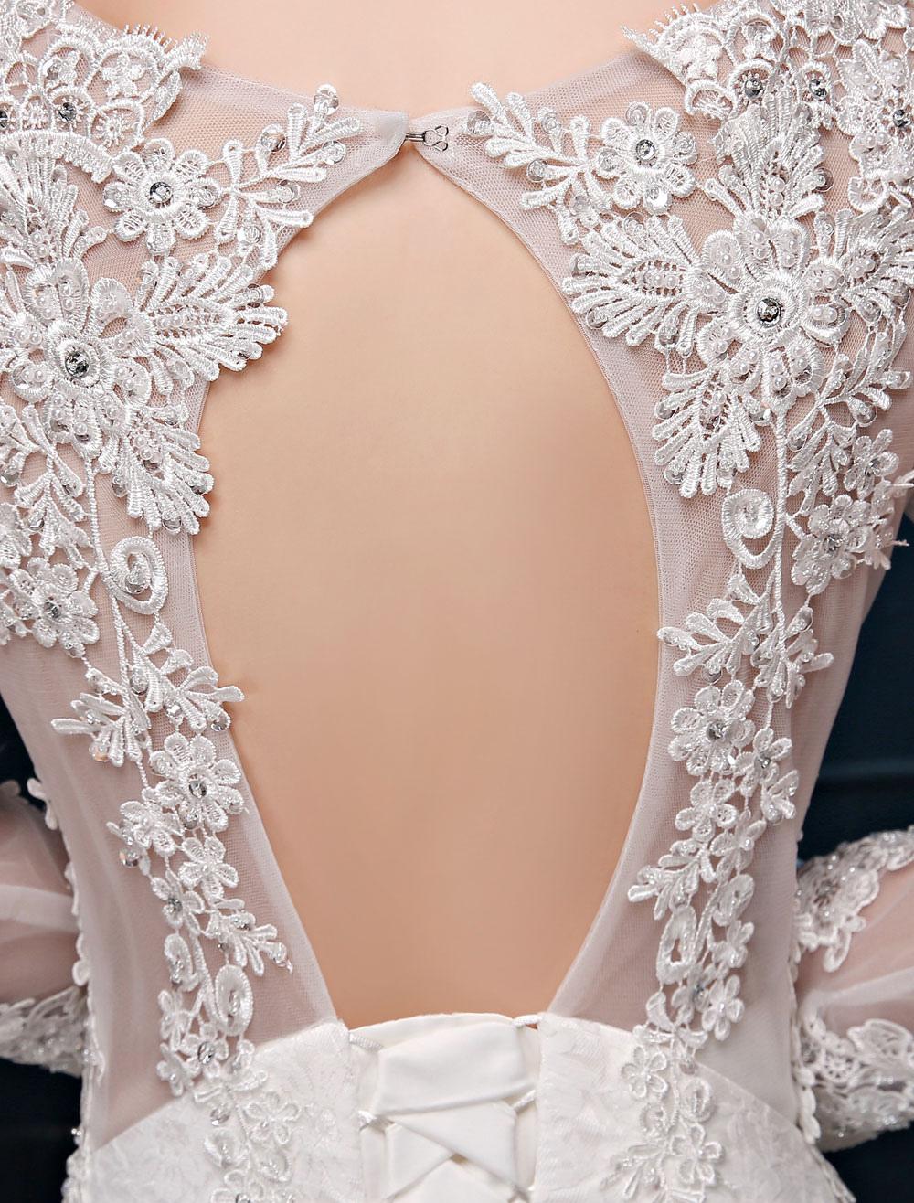 bd28fd7f4afba ... Mermaid Wedding Dresses Lace Beach Bridal Dress Long Sleeve Ivory Open  Back Beaded Illusion Wedding Gown