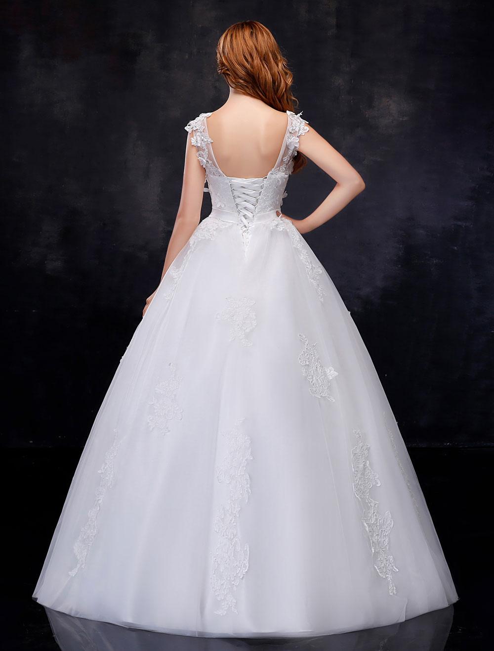 Brautkleider Prinzessin Ballkleider 3D Blumen Backless Illusion Sash ...