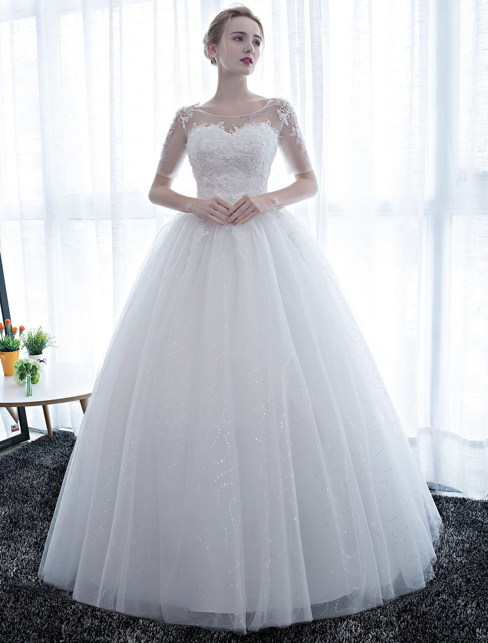 Ivory Wedding Dress Princess Ball Gown Bridal Half Sleeve Lace Applique Pearls Beaded Sweetheart Floor