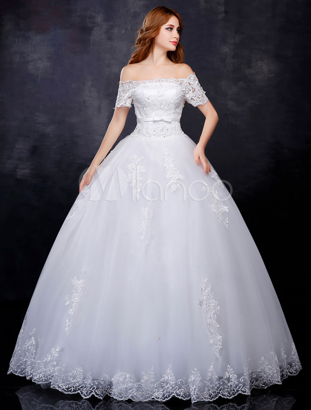 Buy Princess Ball Gown Wedding Dresses Off The Shoulder Bridal Gown Lace Applique Short Sleeve Ivory Floor Length Bridal Dress for $145.19 in Milanoo store
