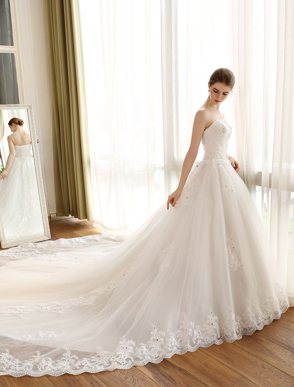 Buy Wedding Dress Princess Ball Gown Strapless Lace Applique Beaded Pleated Ivory Cathedral Train Bridal Dresses for $202.39 in Milanoo store