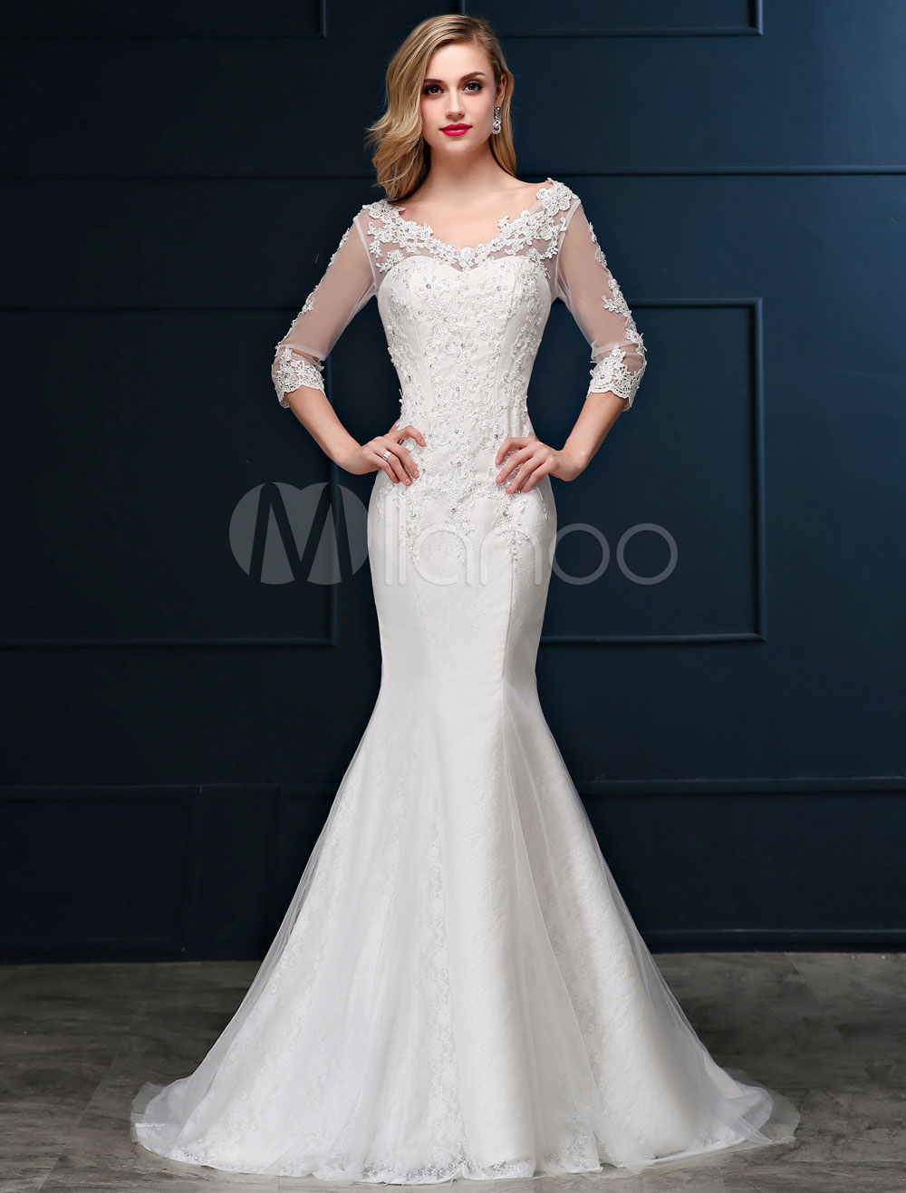 Mermaid Wedding Dress Lace Long Sleeve Bridal Dress V Neck Beaded Backless Slim Fit Ivory Wedding Gown With Train
