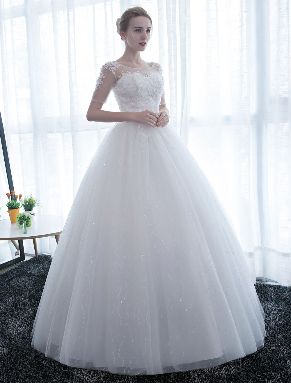 Buy Ivory Wedding Dress Princess Ball Gown Bridal Dress Half Sleeve Lace Applique Pearls Beaded Sweetheart Floor Length Bridal Gown for $131.99 in Milanoo store