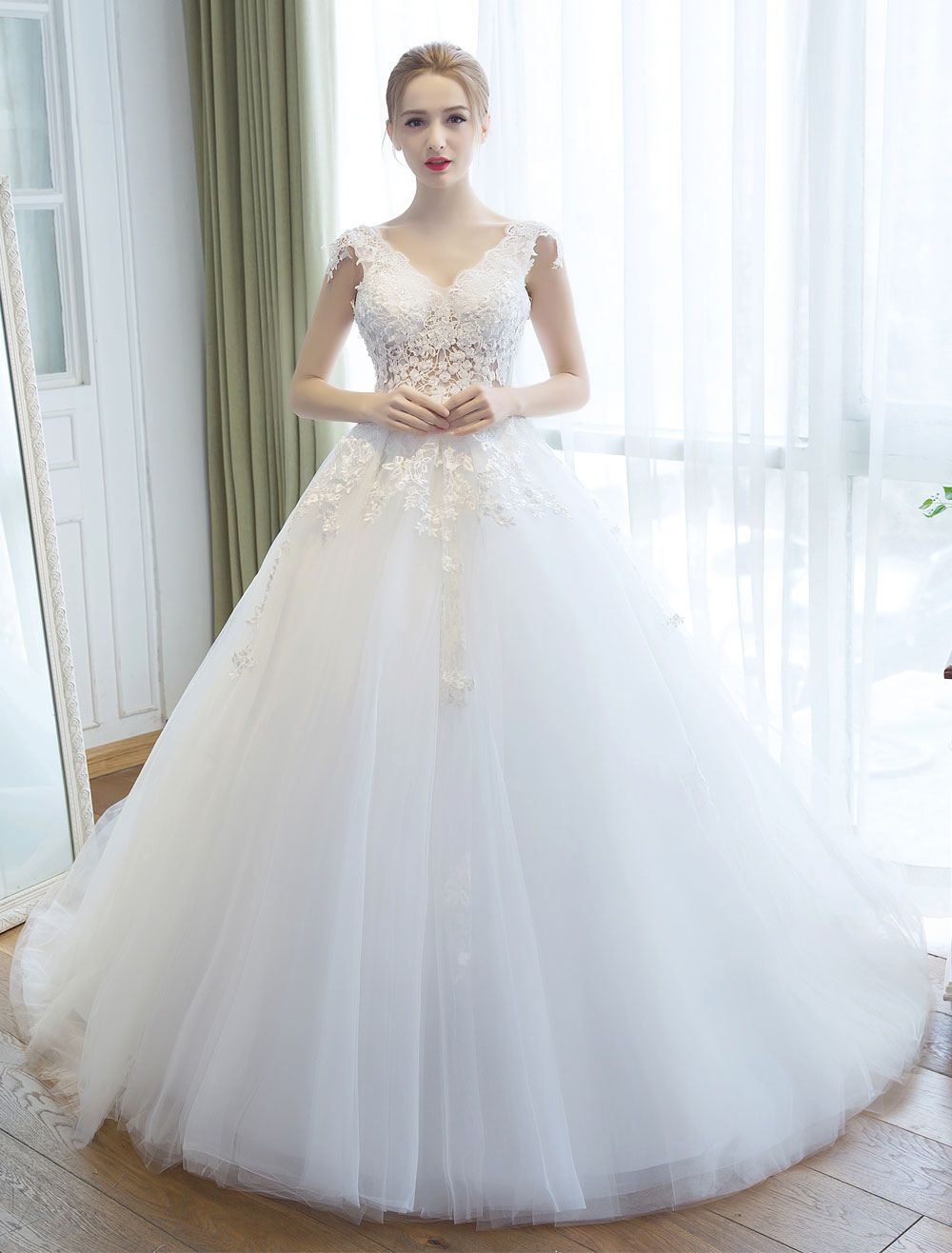 Buy Wedding Dresses Princess Ball Gown Ivory Bridal Gown V Neck Illusion Backless Lace Applique Tulle Bridal Dress With Train for $202.39 in Milanoo store