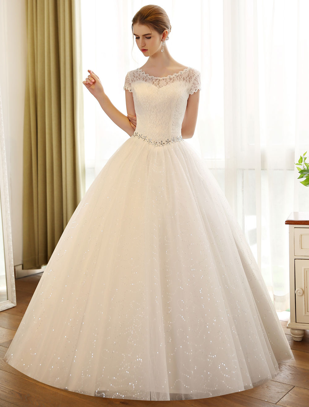 Princess Ball Gown Wedding Dresses Lace Sequin Bridal Dress Ivory ...