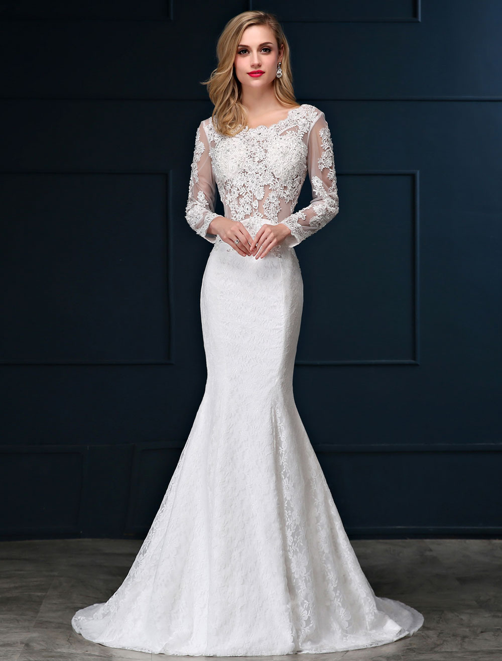 Mermaid Wedding Dresses Lace Beach Bridal Dress Long Sleeve Ivory Open Back Beaded Illusion Wedding Gown With Train