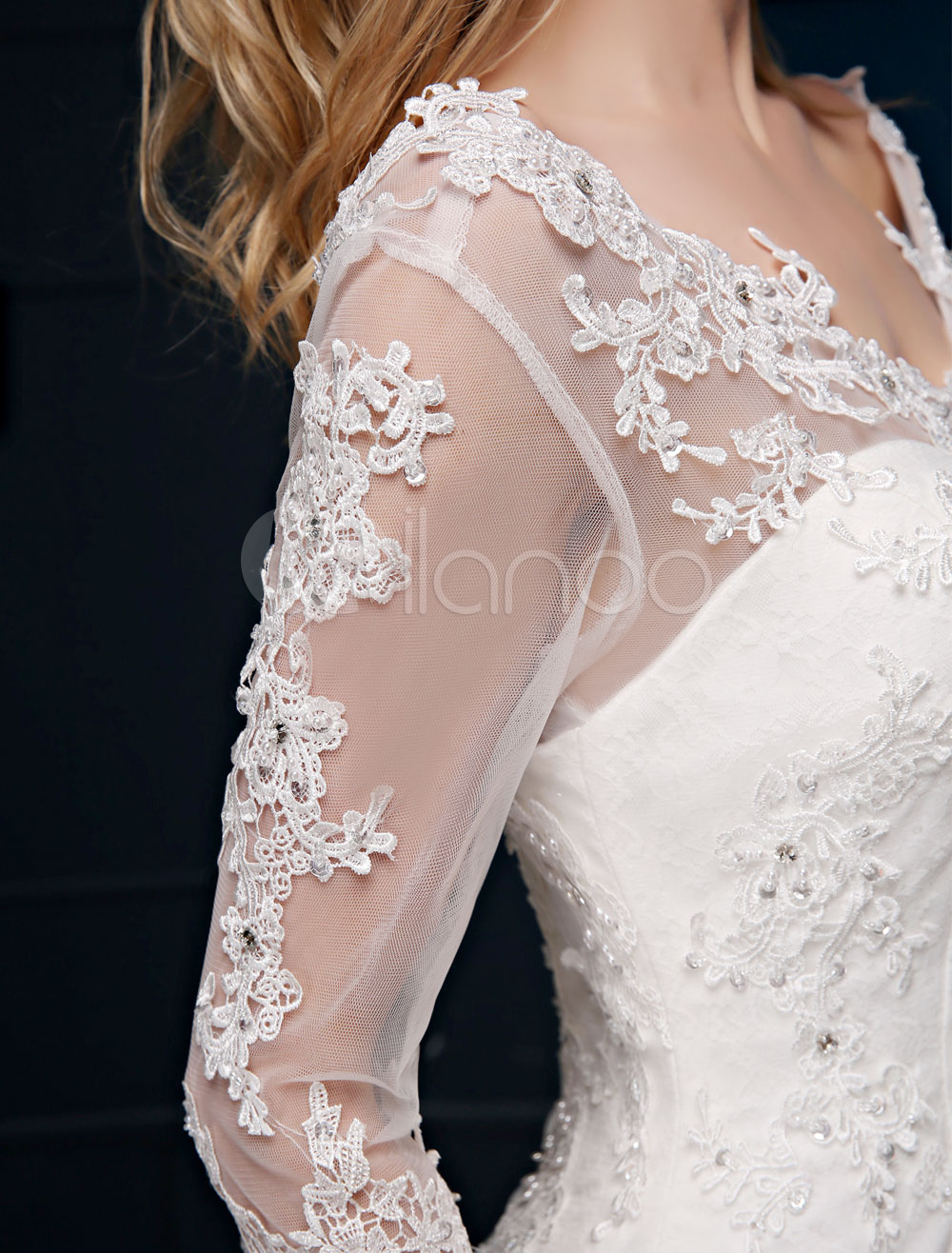 4fc53459e8 ... Mermaid Wedding Dress Lace Long Sleeve Bridal Dress V Neck Beaded  Backless Slim Fit Ivory Wedding