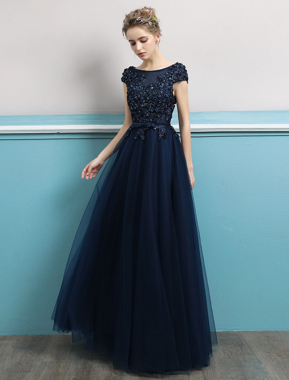 b01c805f8b ... Prom Dresses 2019 Long Dark Navy Evening Dress Jewel Neck Open Back  Sequin Flowers Beaded Tulle. 12. 55%OFF. Color Dark Navy