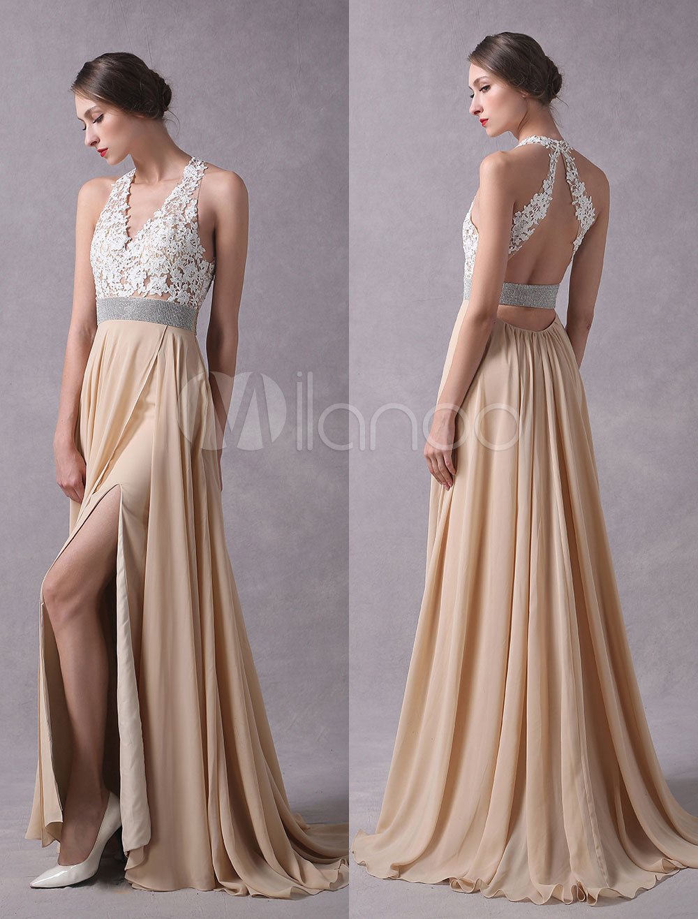 Prom Dresses 2018 Long Champagne High Split Lace Chiffon Back Design Halter Formal Party Dresses With Train