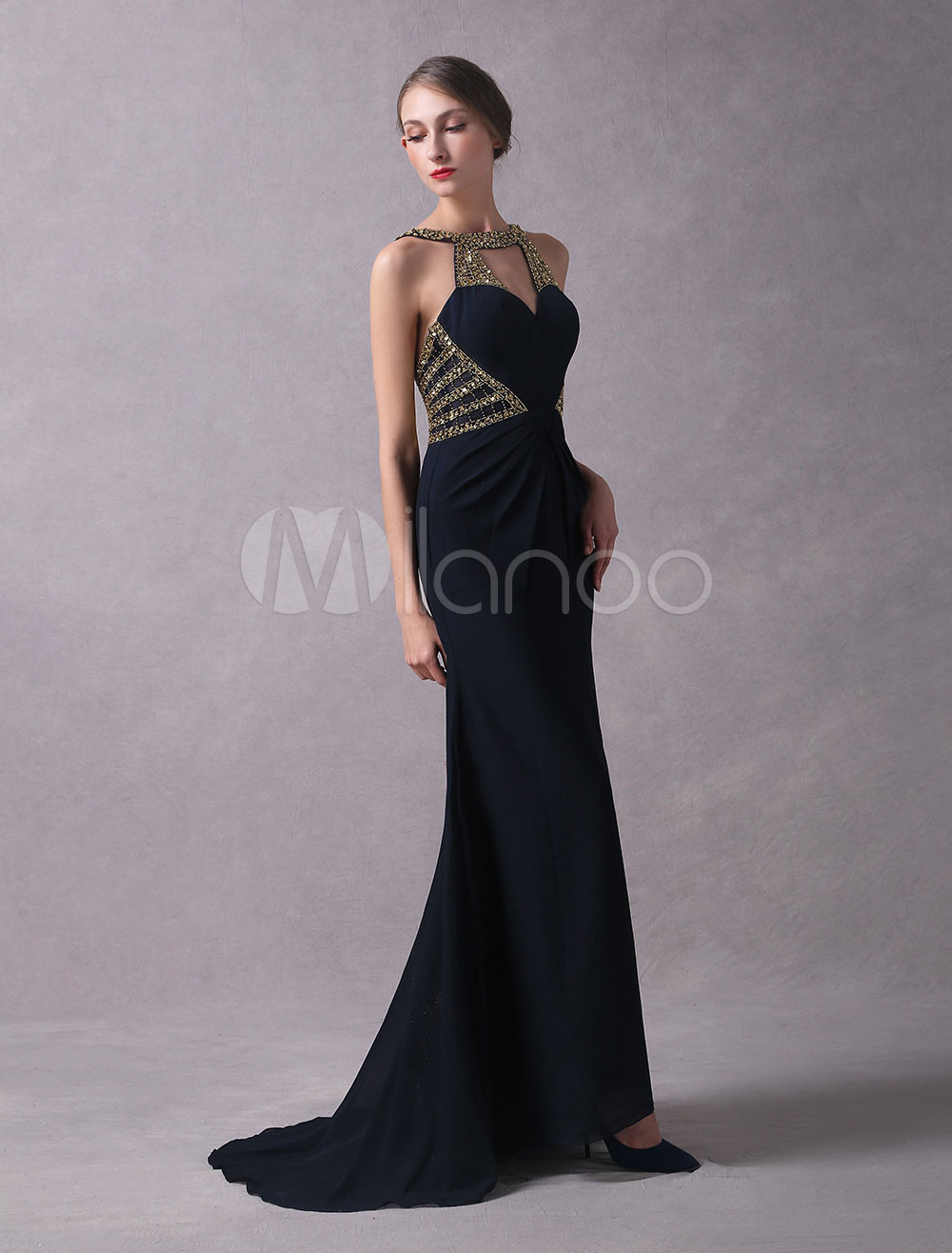 Evening Dresses Dark Navy Backless Formal Dress Beading Cut Out Sleeveless Sheath Evening Gown With Train