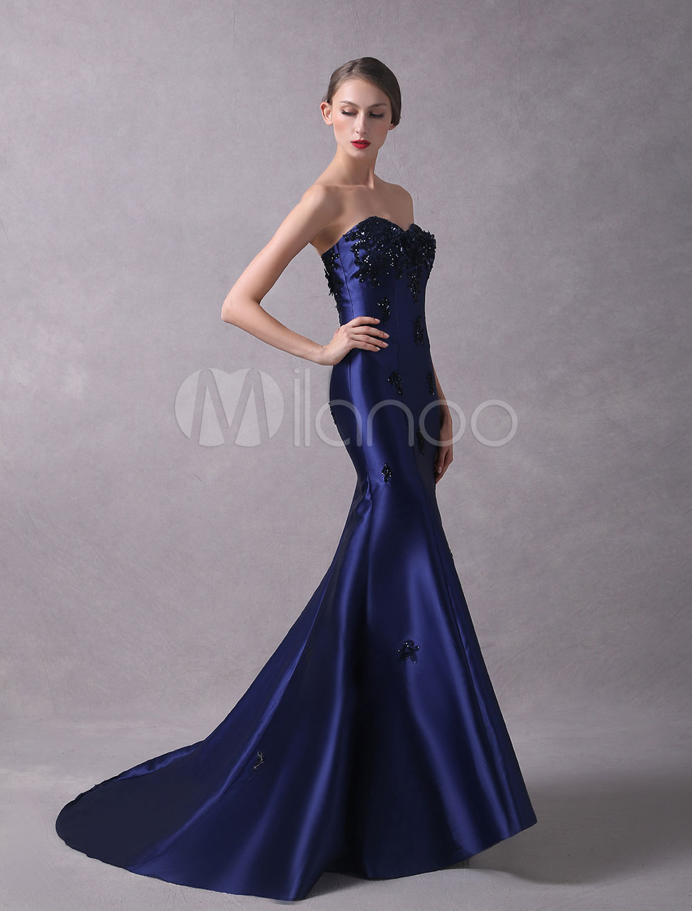 Buy Satin Evening Dresses Mermaid Strapless Formal Dress Lace Beaded Sweetheart Neckline Evening Gown With Train for $250.74 in Milanoo store