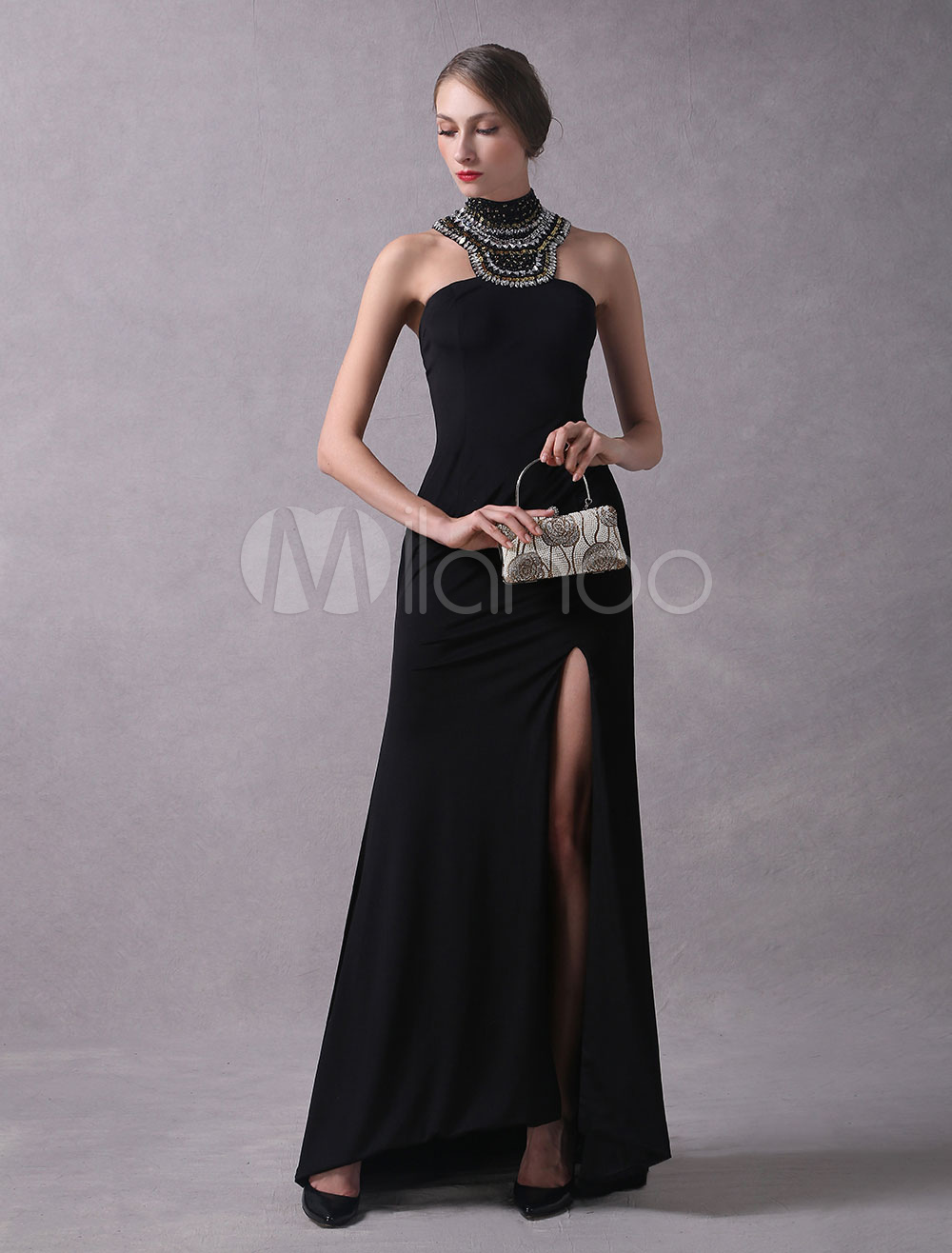 Buy Black Evening Dresses Sexy Split High Collar Evening Gown Beaded Sheath Back Design Formal Dress With Train for $178.49 in Milanoo store