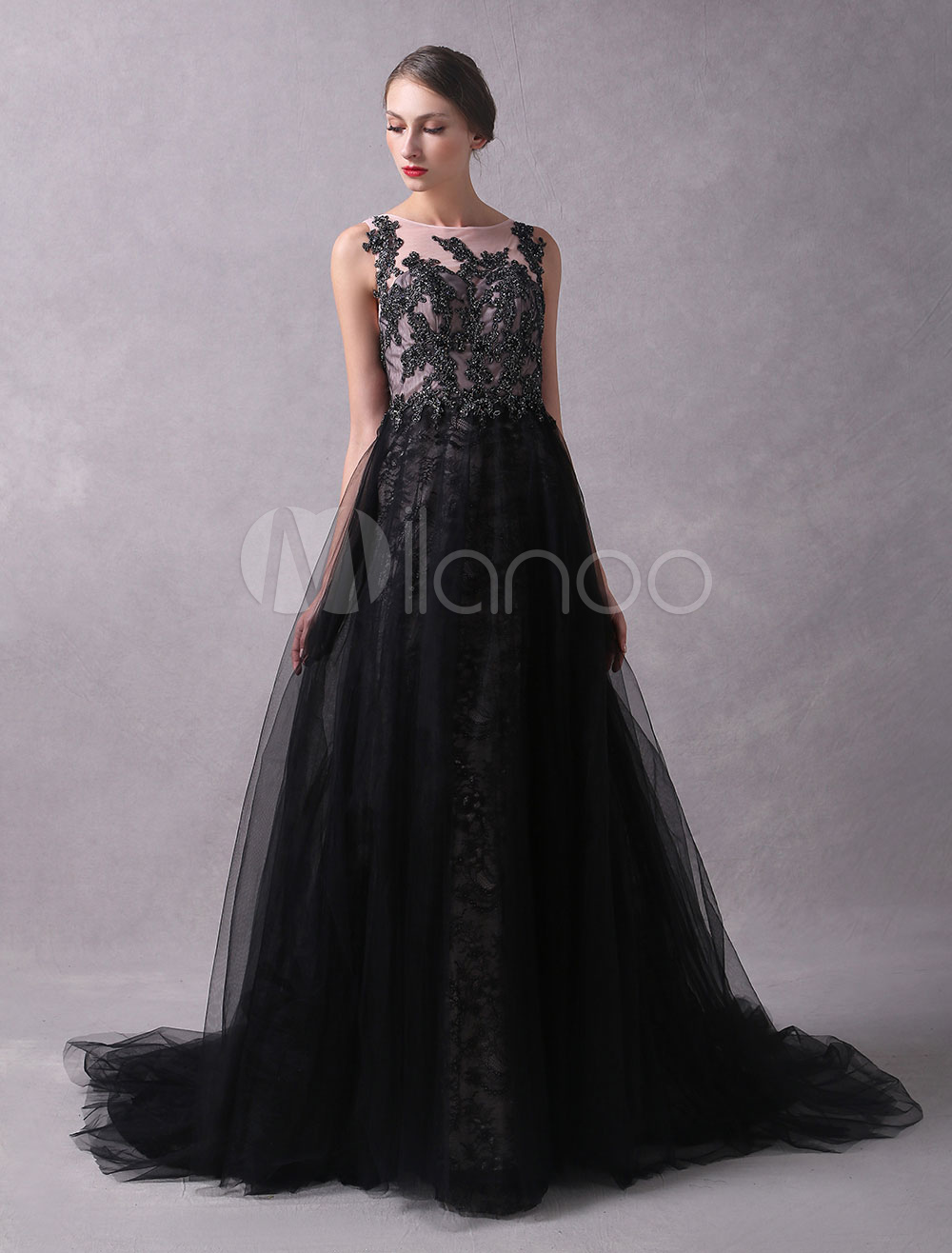 Buy Black Prom Dresses 2018 Long Tulle Lace Beaded Sleeveless Illusion Round Neck Formal Evening Dresses With Train for $276.24 in Milanoo store