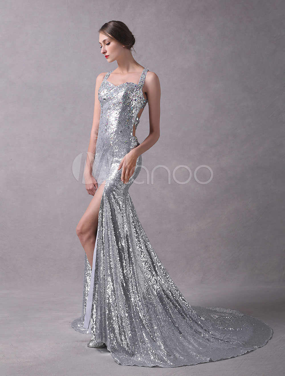 Silver Evening Dresses Sequined Beaded Glitter Sexy High Split Cross Back Formal Occasion Dresses With Train