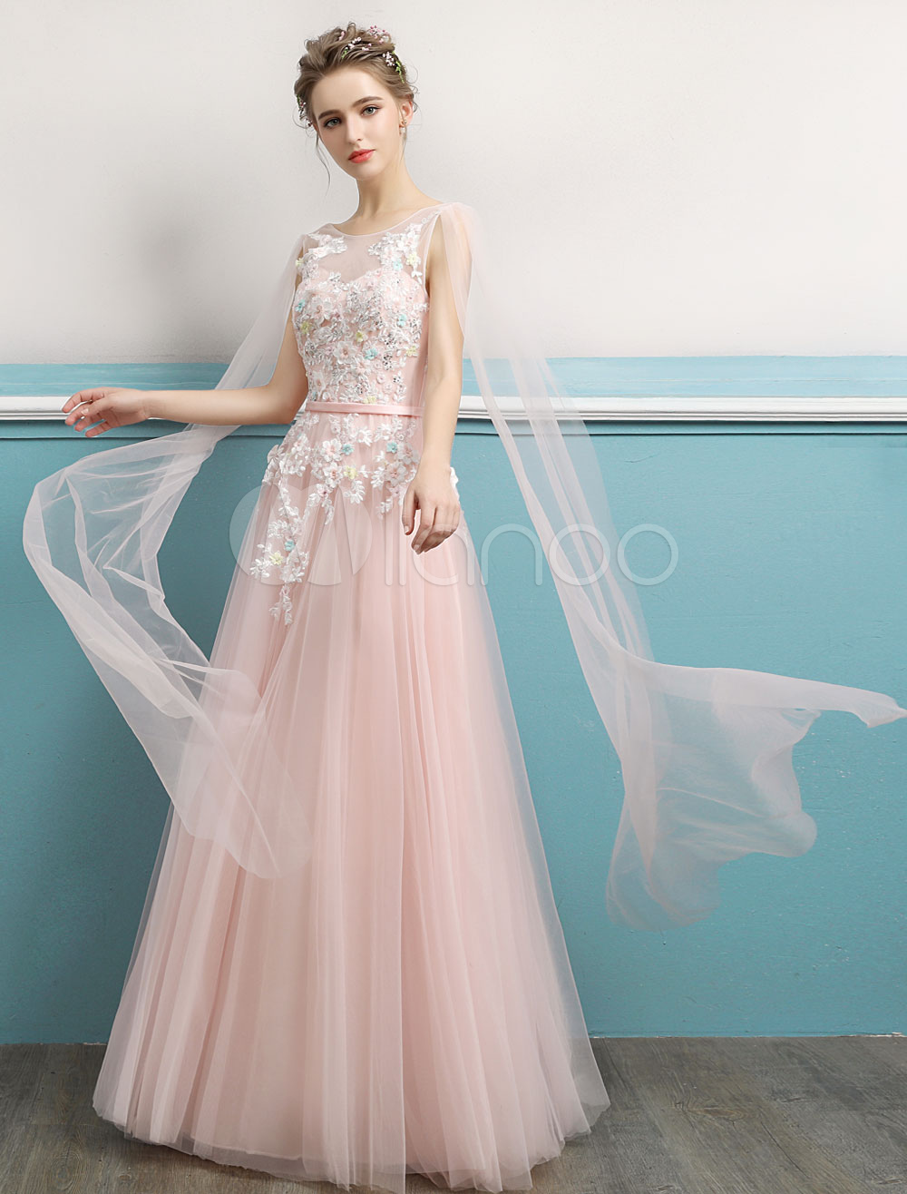 Prom Dresses Long Soft Pink Lace Backless Flowers Beaded Ribbons Floor Length Formal Dresses