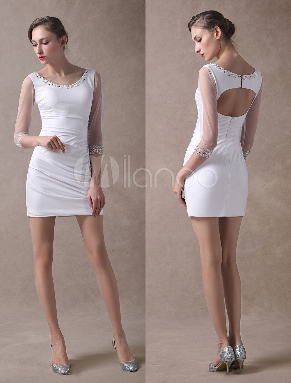 Buy Mother Of The Bride Dresses White Sheath Short Beaded Open Back Long Sleeve Wedding Guest Dresses for $117.44 in Milanoo store