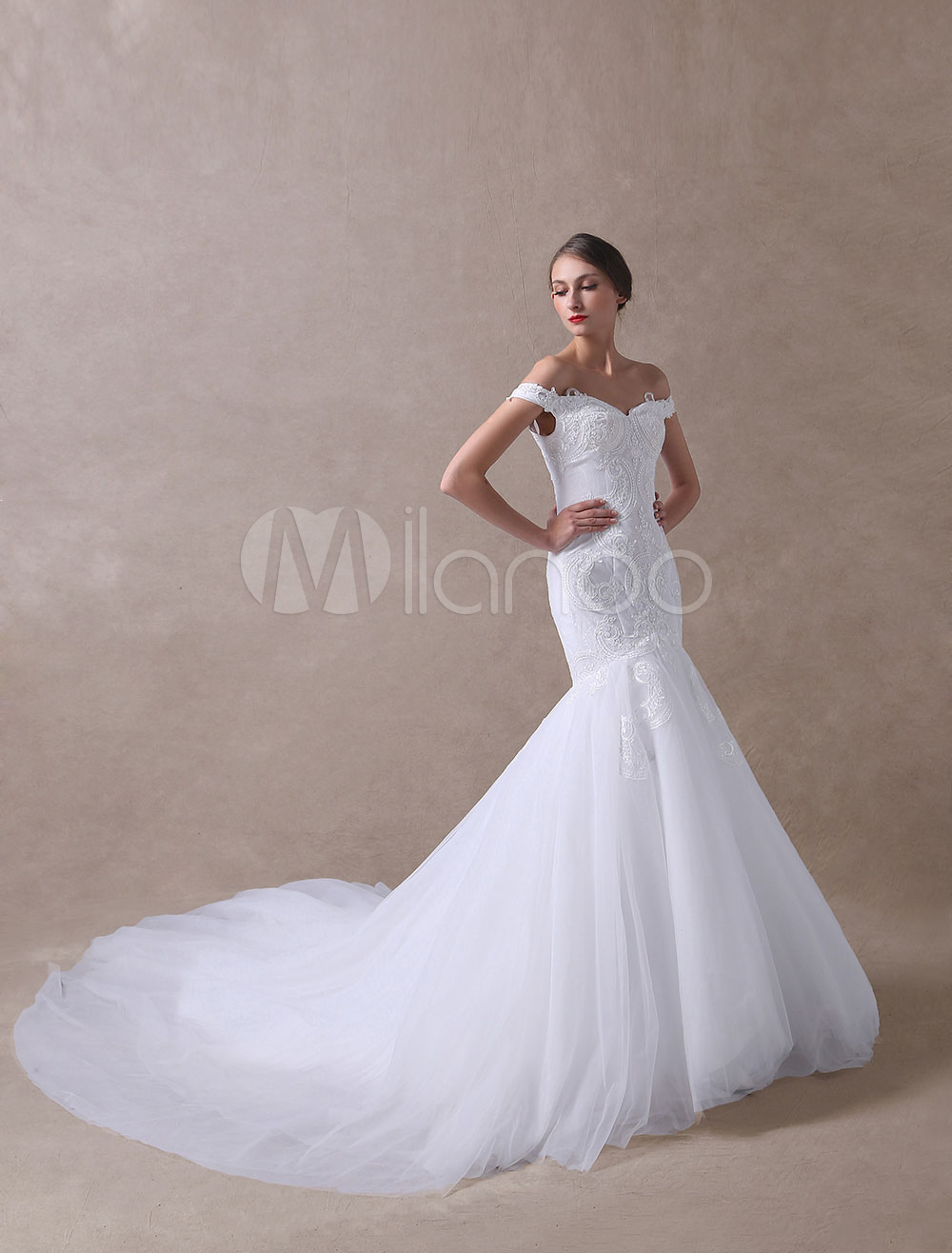 Wedding Dresses Mermaid Off The Shoulder Bridal Dress Lace Applique Tulle Wedding Gowns With Train
