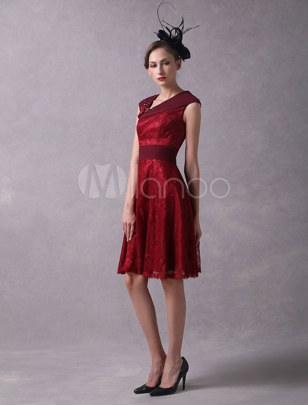 Buy Wedding Guest Dresses Burgundy Lace Wedding Guest Dress Pleated Sleeveless Knee Length Wedding Party Dress for $126.14 in Milanoo store