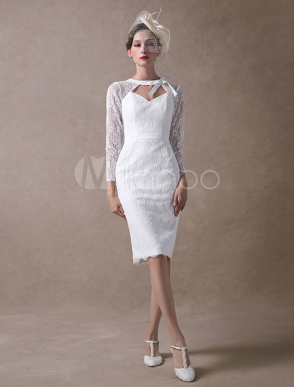 Short Wedding Dresses Lace Sheath Bridal Dress Long Sleeve Cut Out Ivory Knee Length Wedding Gowns