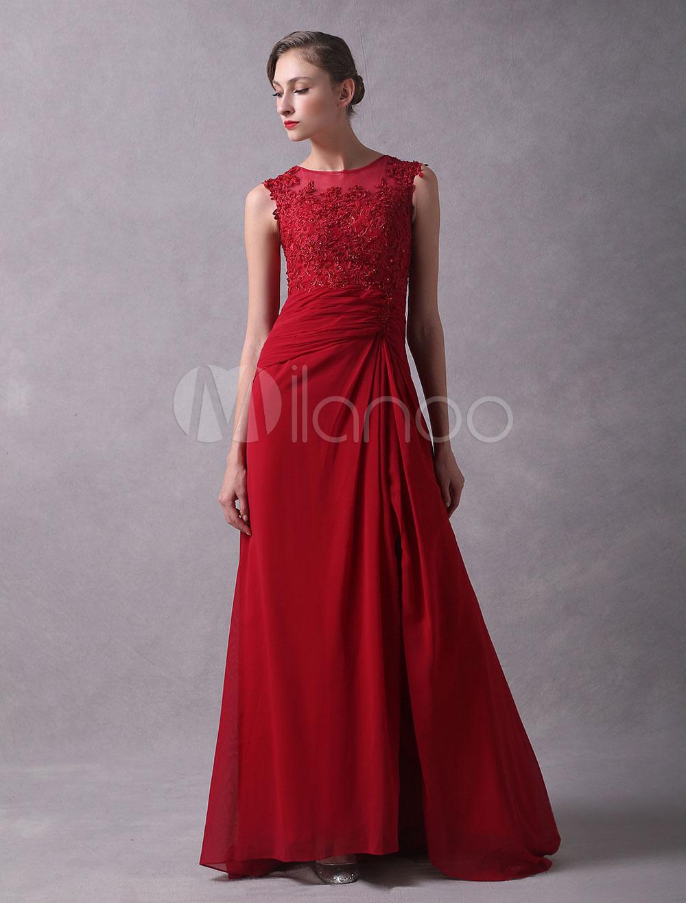 8de2f710cf1 Vestido de noche de chifón Color rojo rubí sin mangas con escote ...