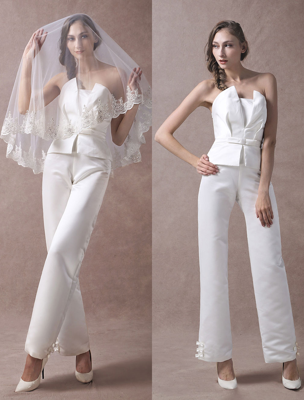 Wedding Jumpsuits Ivory Strapless Peplum Satin Bow Sash Long Bridal Jumpsuits