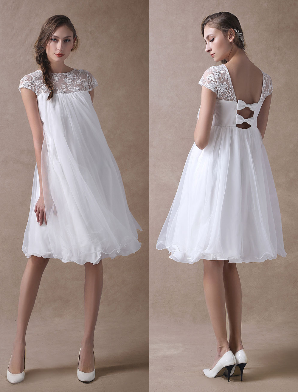 Simple Wedding Dresses Short Empire Waist Lace Tulle Cap Sleeve Pregnant Bridal Dress