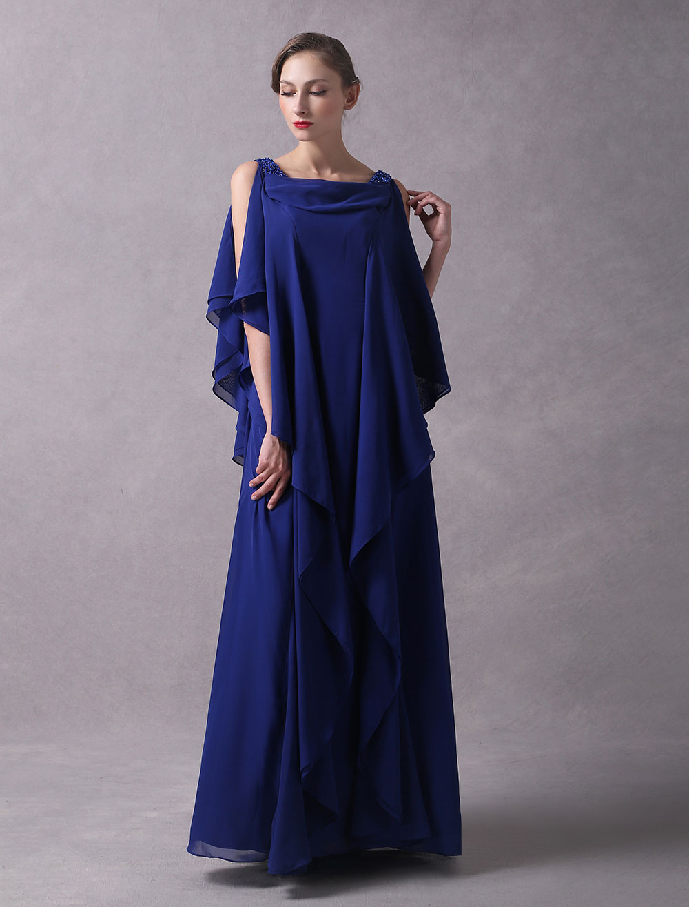 Evening Dresses Arabic Royal Blue Chiffon Cascading Ruffles Beaded