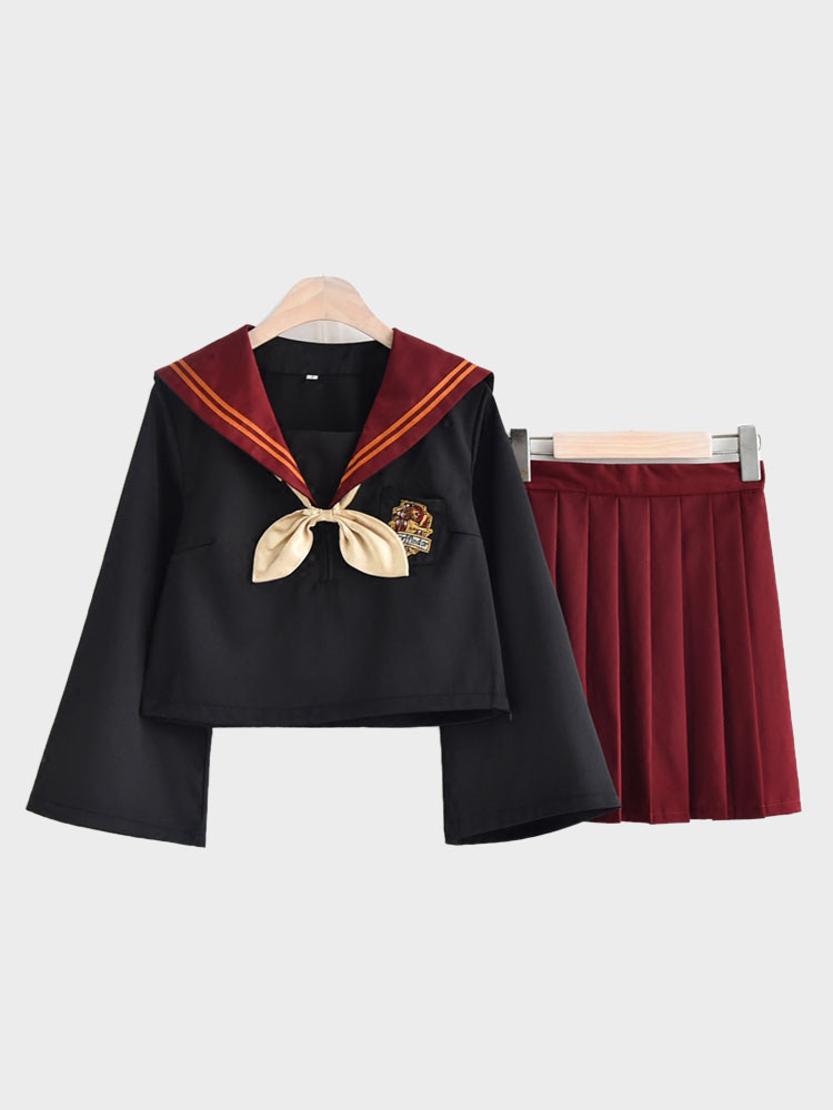 Japanese Anime Burgundy Winter School Uniform Kawaii School Girl Cosplay