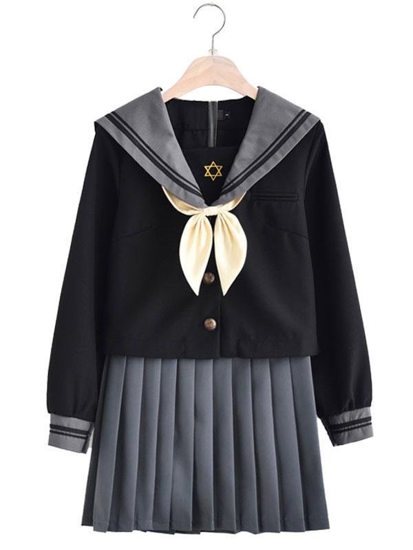 Japanese Anime Black Winter School Uniform Kawaii School Girl Cosplay