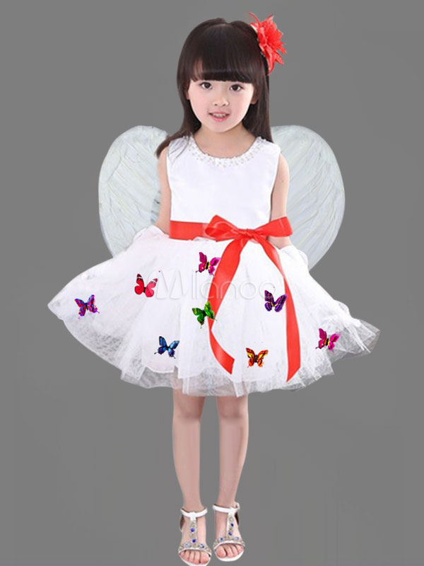 Halloween Angel Costume Kids Butterfly Decor Dress With Wings