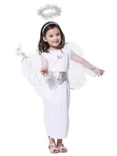 Halloween Angel Costume Kids White Dress Wings With Halo Headband