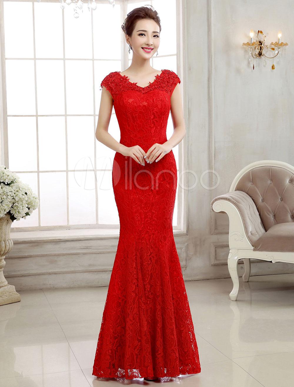 Rote abendkleider spitze v ausschnitt mermaid formale kleid backless bodenlangen abendkleider - Milanoo abendkleider ...