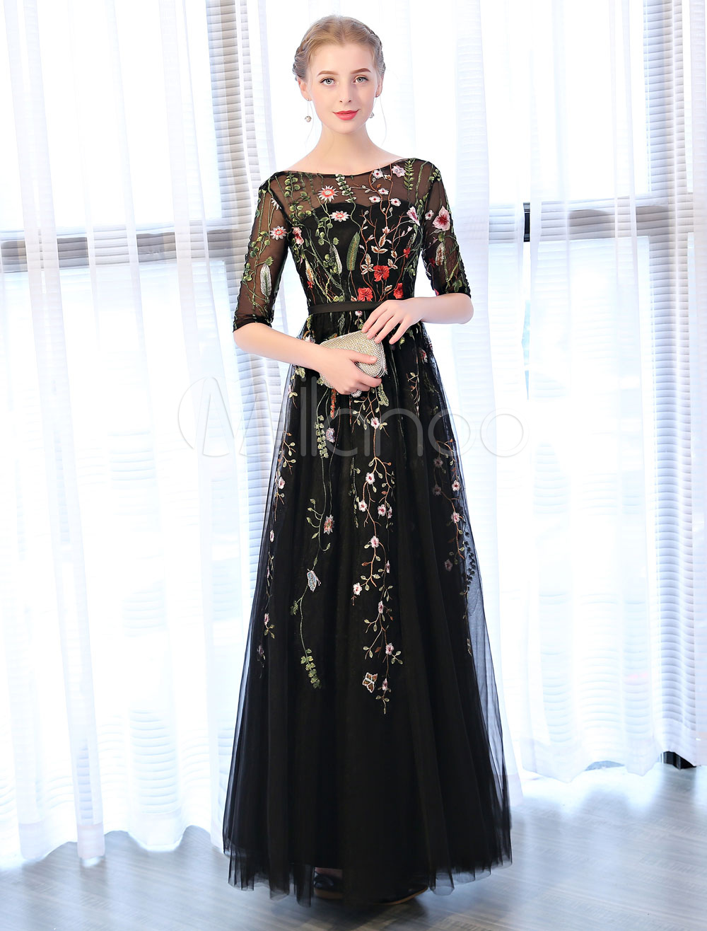 13789355554 ... Backless Half Sleeve Floral Embroidered Tulle Floor Length Occasion  Party Dress-No. 12. 32%OFF. Color Black