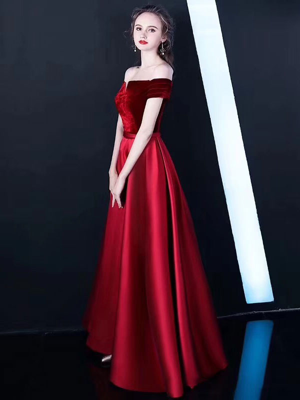 b4c72b38e65 ... Burgundy Prom Dresses Off The Shoulder Velvet Satin Formal Dress  Notched Neck Floor Length Evening Gowns ...