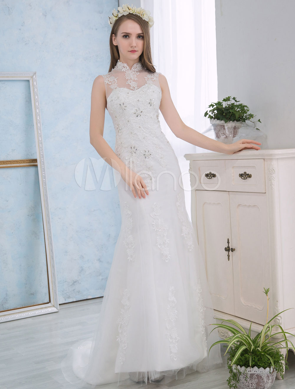 Buy Ivory Wedding Dresses Lace Applique Mermaid Bridal Dress Beading Stand Collar Open Back Wedding Gown With Train for $162.79 in Milanoo store