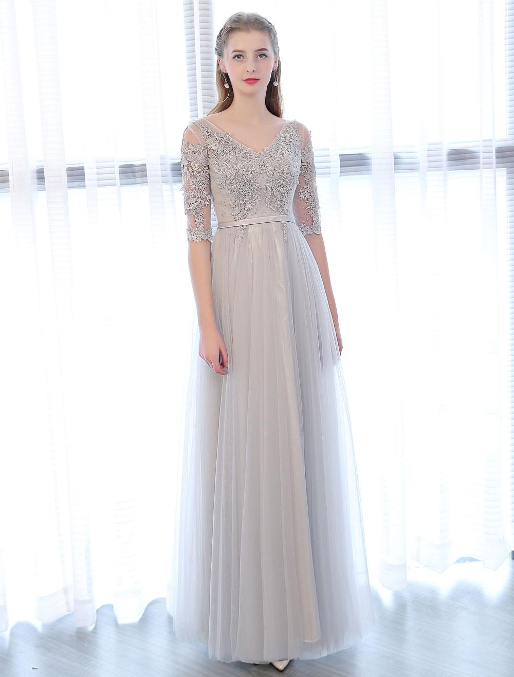 Prom Dresses Long Light Gray V Neck Lace Half Sleeve Beading Sash Floor Length Tulle Formal Party Dress
