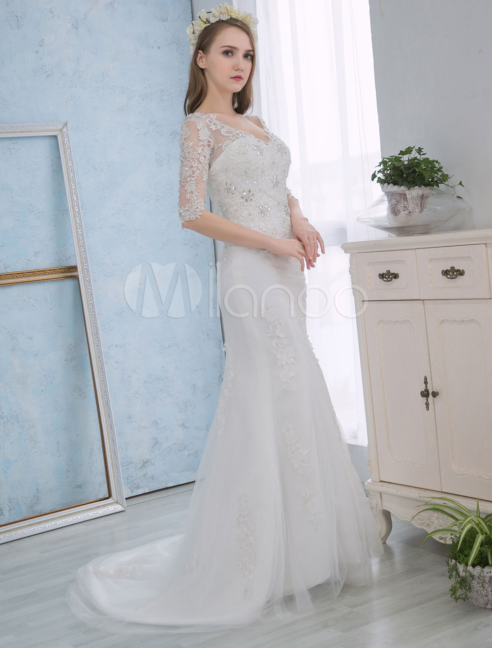 Buy Mermaid Wedding Dresses Lace Half Sleeve Bridal Dress Backless Beading Ivory Wedding Gown With Train for $162.79 in Milanoo store