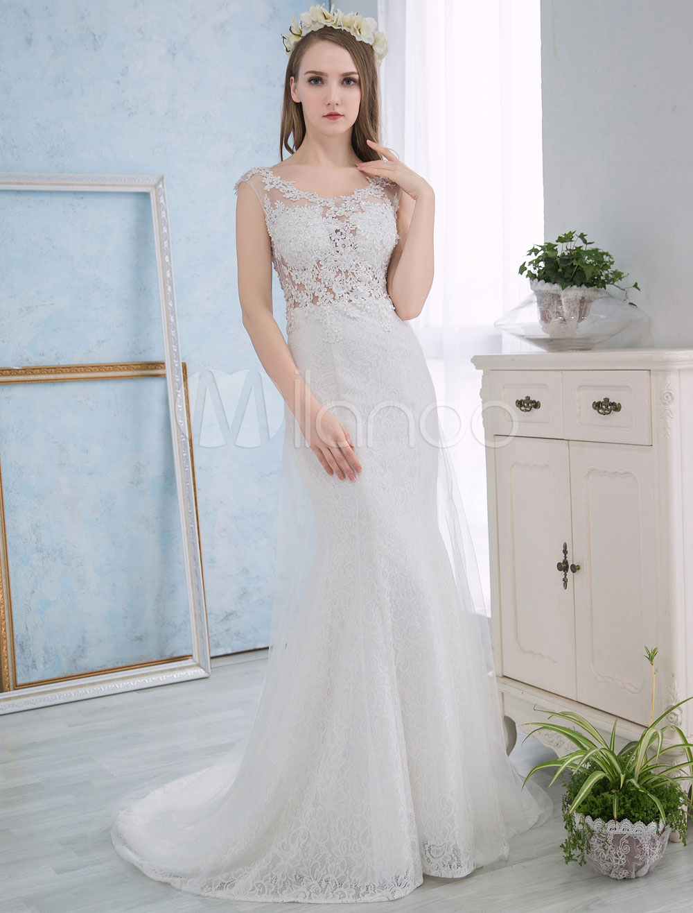 Buy Ivory Wedding Dresses Mermaid Lace Beach Summer Bridal Dress Beading Sleeveless Open Back Wedding Gown With Train for $153.99 in Milanoo store